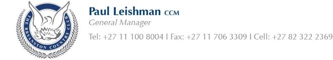Paul Leishman - Tel: 011 100 8004 | 011 706 3309